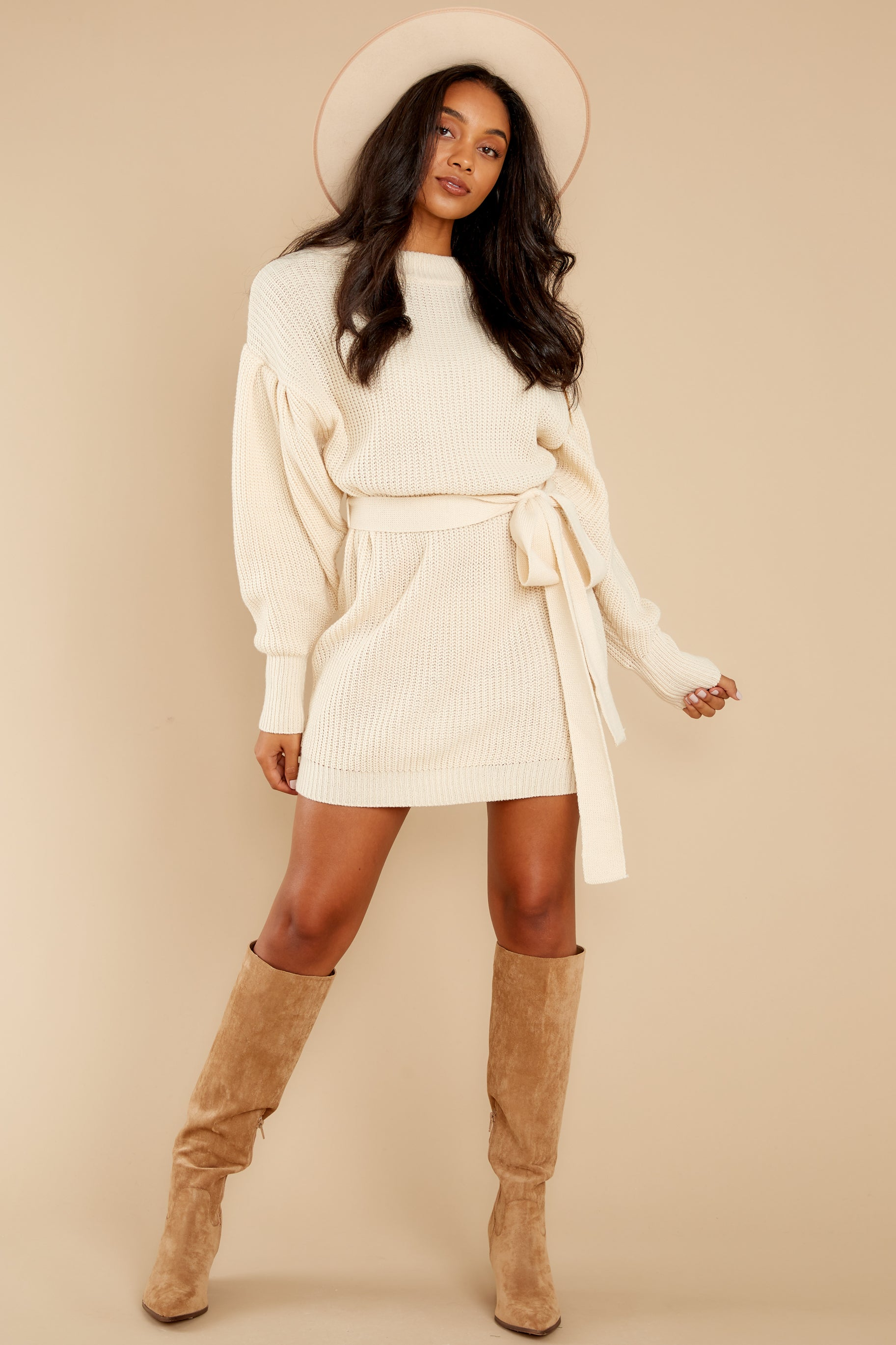 3 Impeccable Style Ivory Sweater Dress at reddress.com