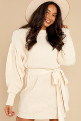 7 Impeccable Style Ivory Sweater Dress at reddress.com