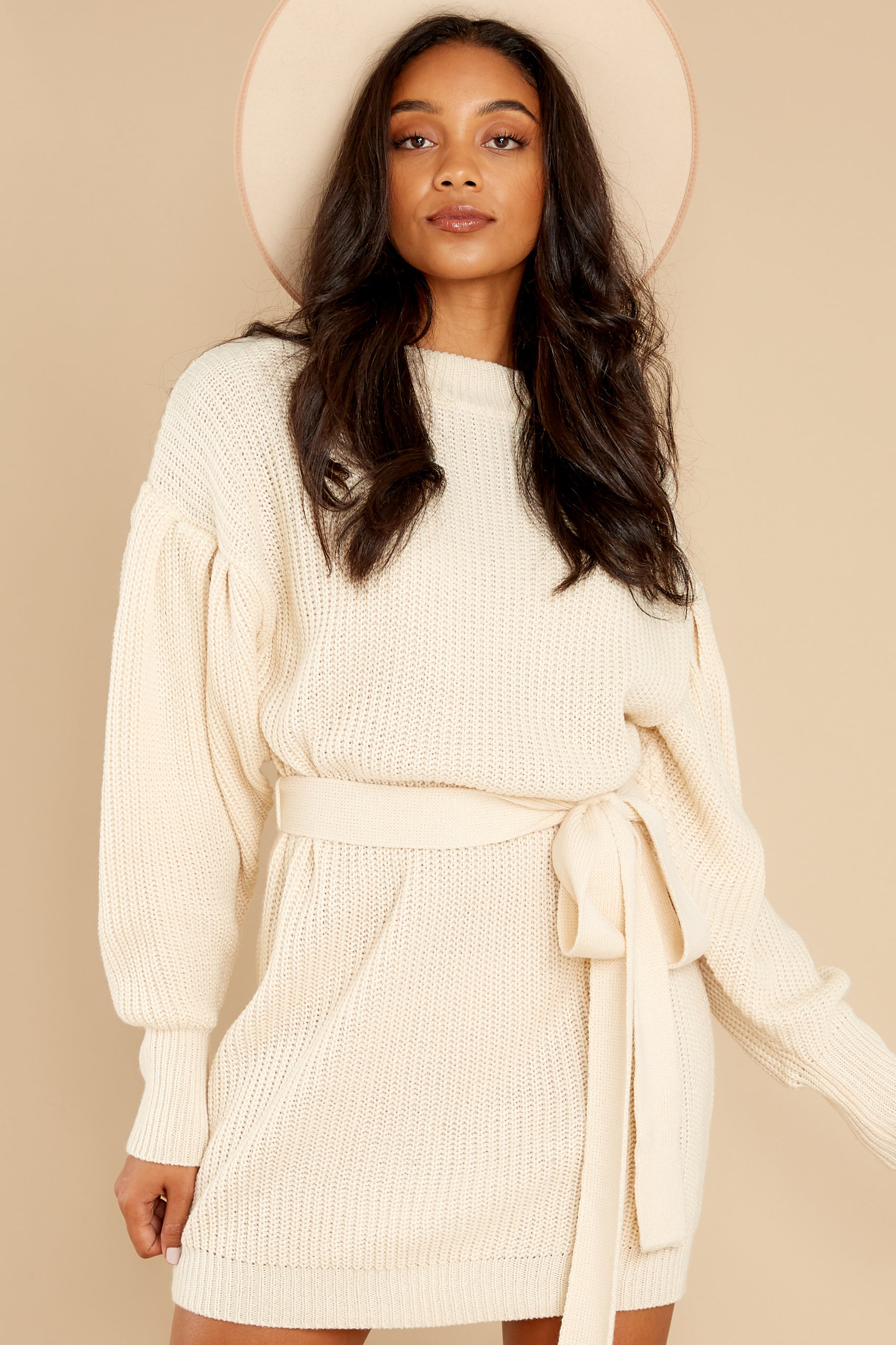 6 Impeccable Style Ivory Sweater Dress at reddress.com