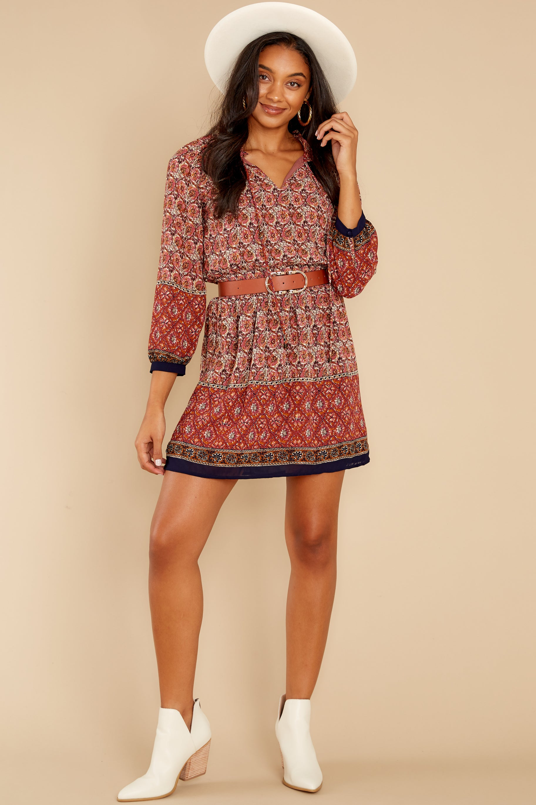 5 Flaunt Fallishness Mauve And Rust Multi Print Dress at reddress.com
