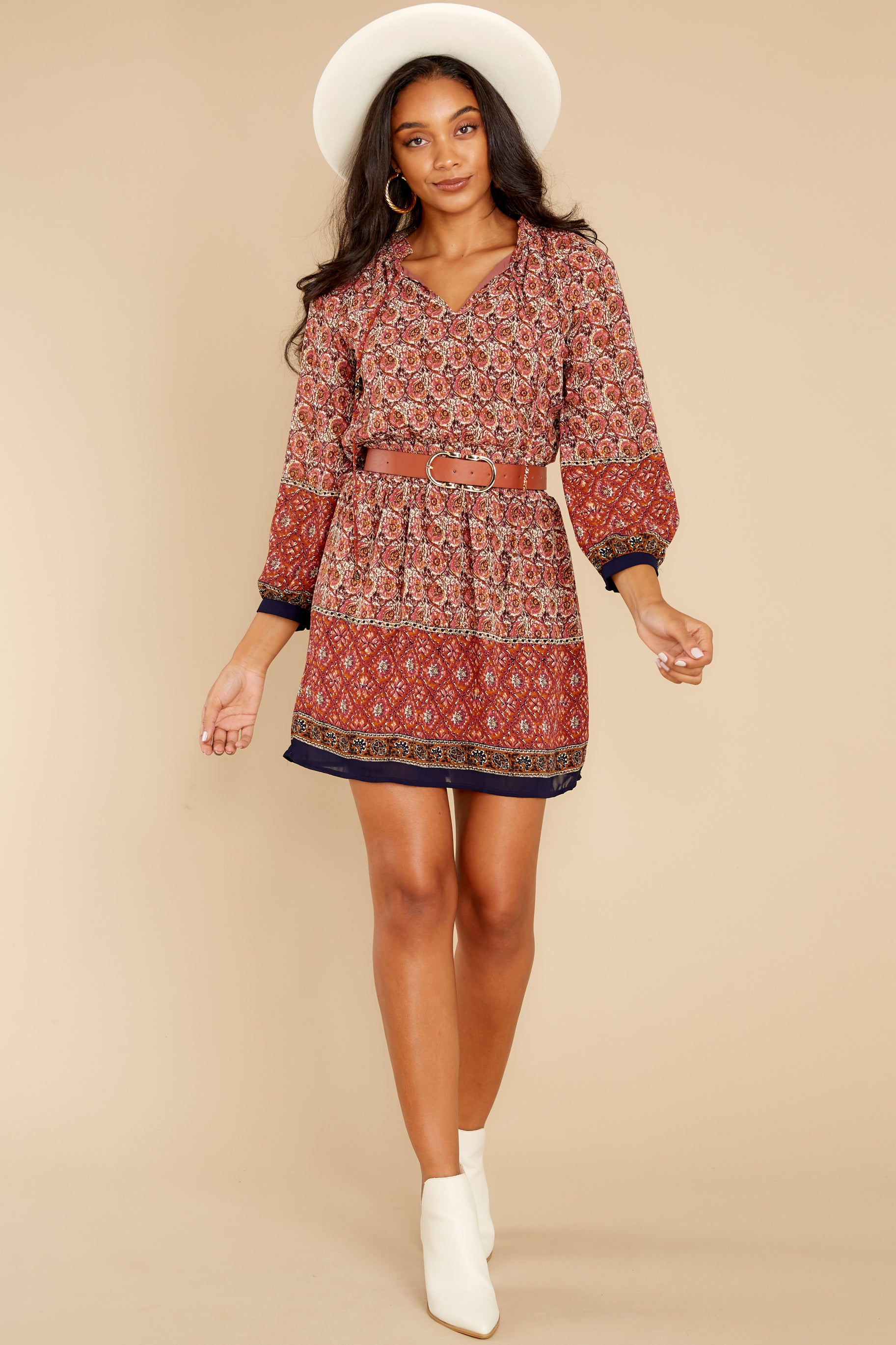 3 Flaunt Fallishness Mauve And Rust Multi Print Dress at reddress.com