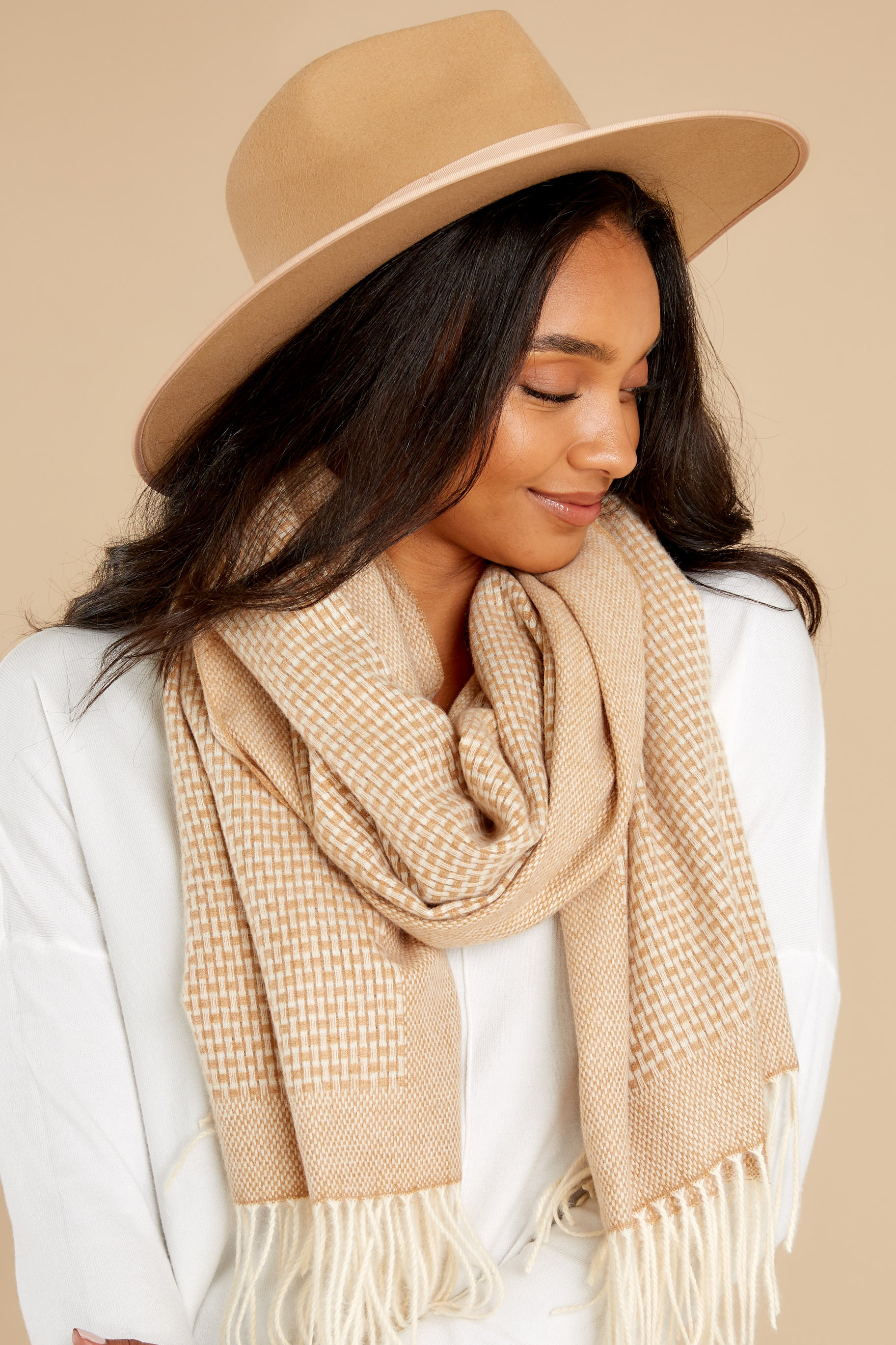 4 Layer Up Khaki Scarf at reddress.com