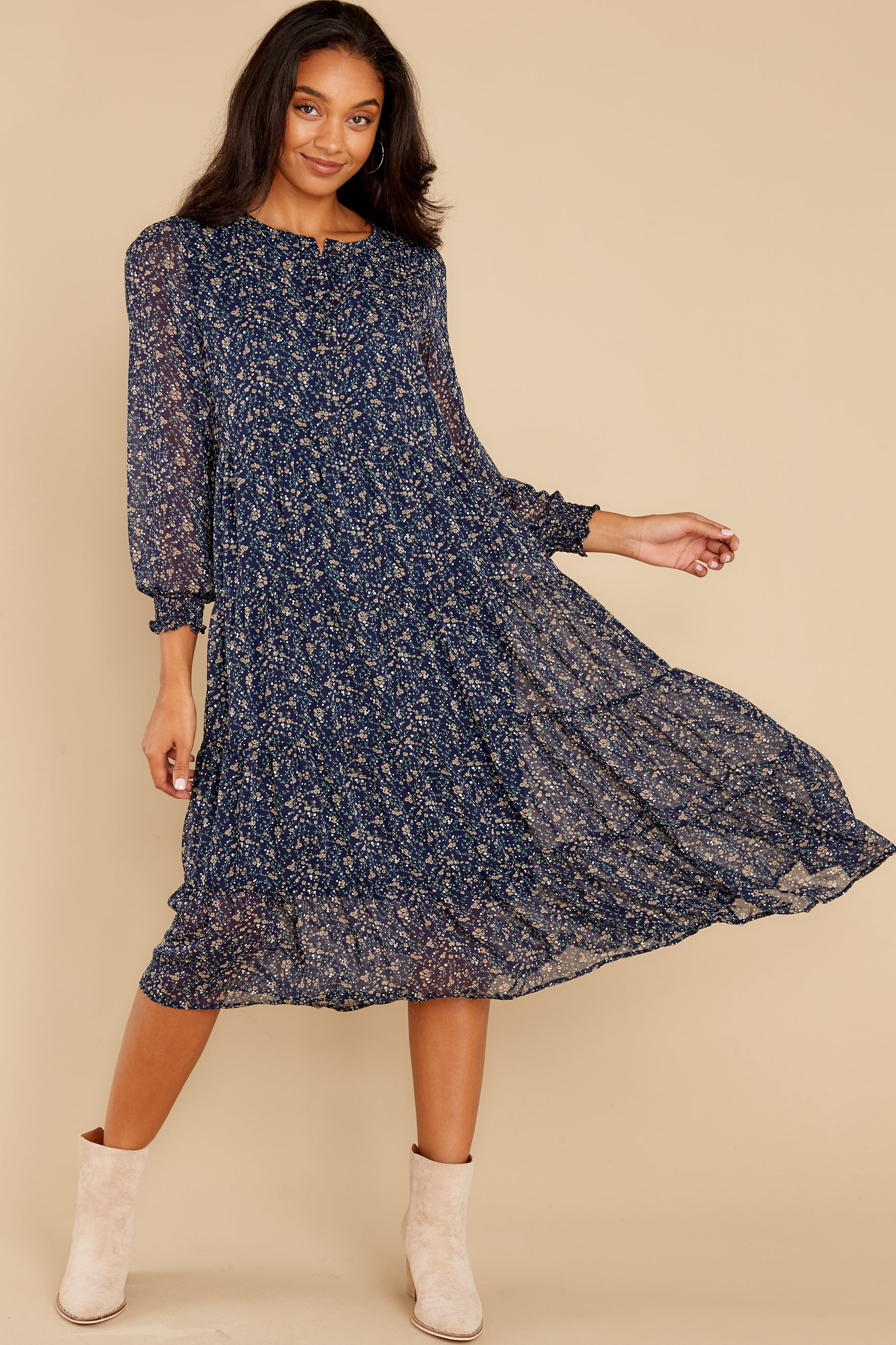 4 So It Goes Navy Floral Print Midi Dress at reddress.com