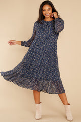 3 So It Goes Navy Floral Print Midi Dress at reddress.com