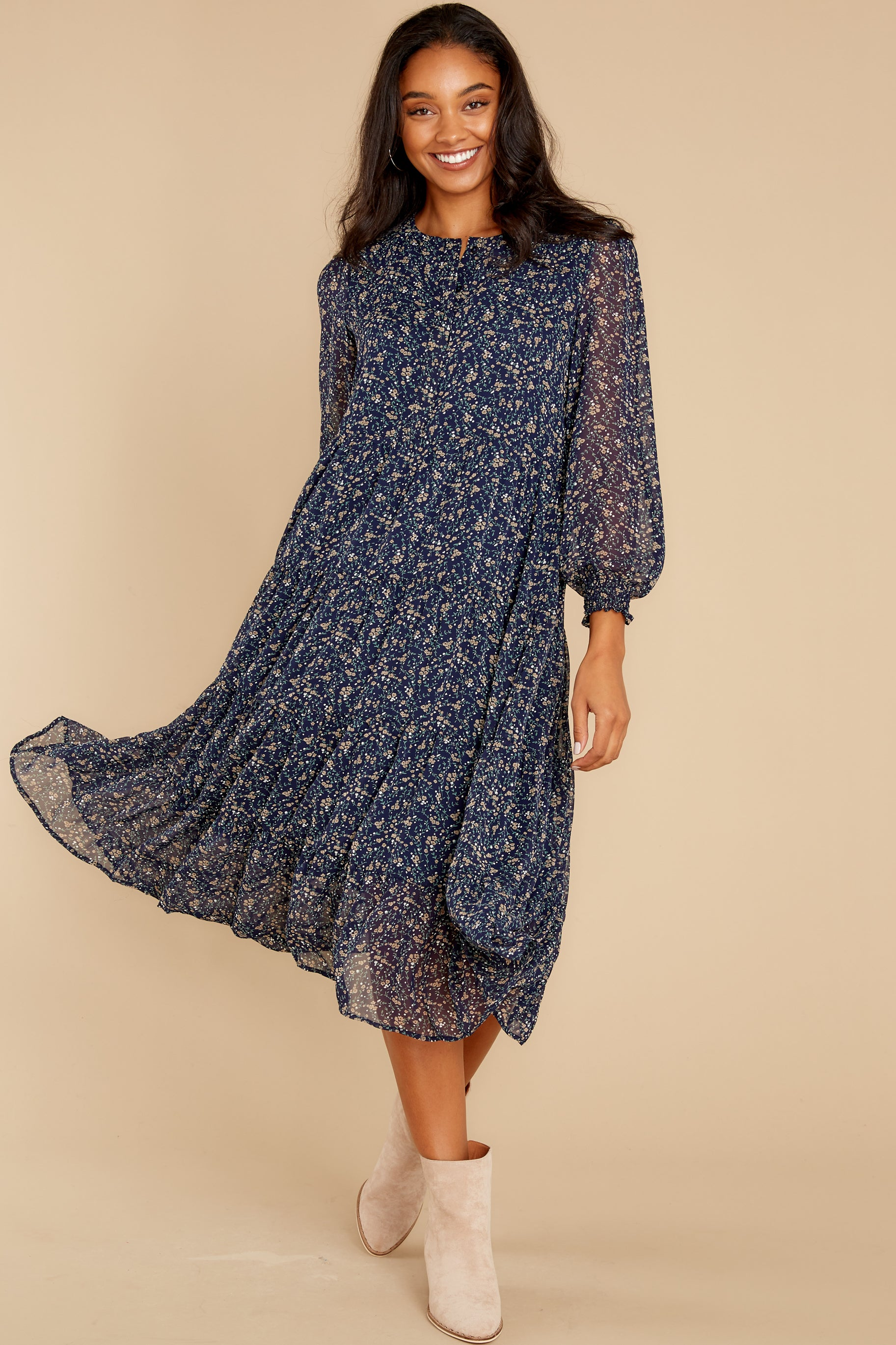 2 So It Goes Navy Floral Print Midi Dress at reddress.com