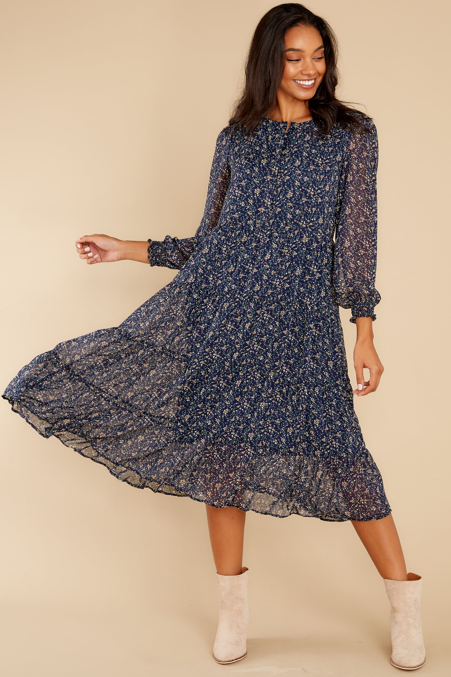 5 So It Goes Navy Floral Print Midi Dress at reddress.com