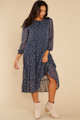 6 So It Goes Navy Floral Print Midi Dress at reddress.com