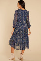 7 So It Goes Navy Floral Print Midi Dress at reddress.com