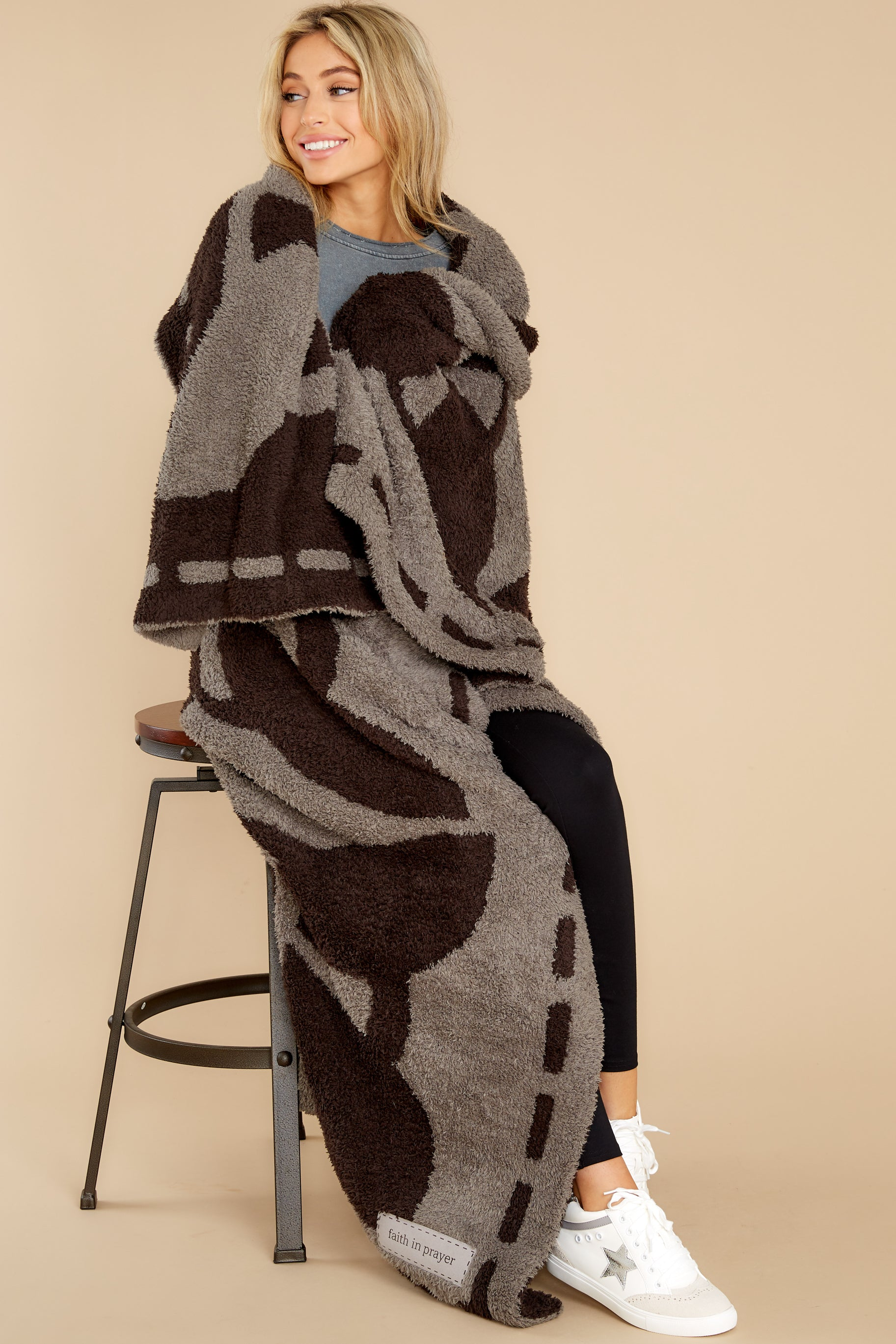 3 CozyChic® Charcoal And Espresso Covered In Prayer® Throw at reddress.com