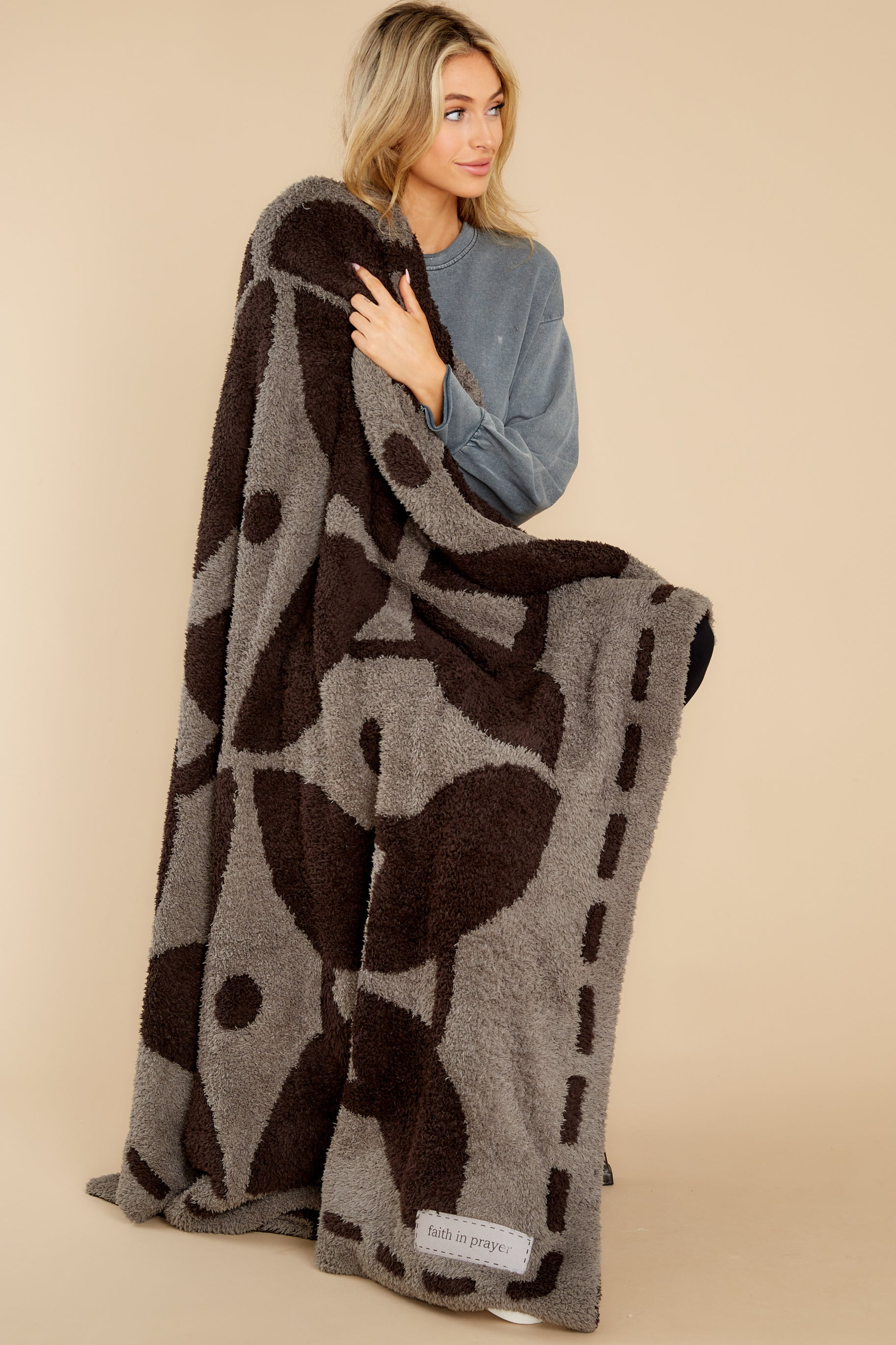 4 CozyChic® Charcoal And Espresso Covered In Prayer® Throw at reddress.com