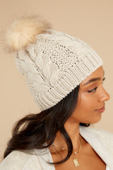1 Cocoa Cozy Beige Pom Hat at reddress.com
