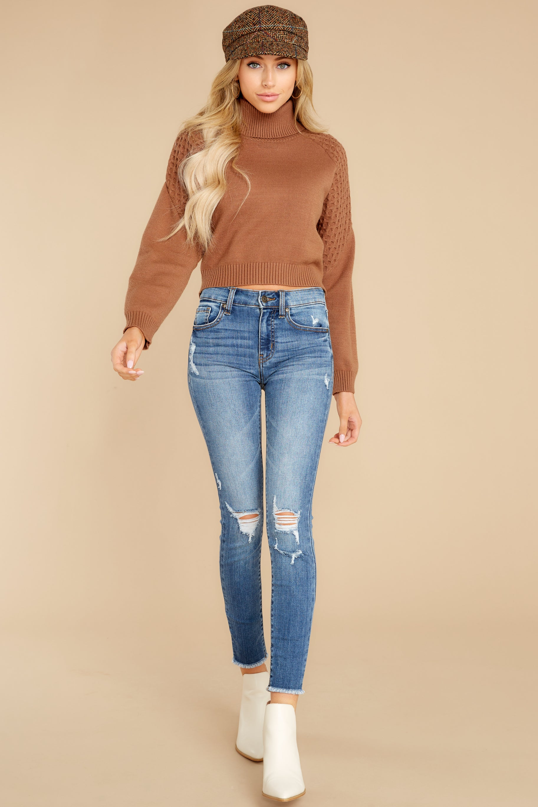 3 Back On Again Camel Sweater at reddress.com