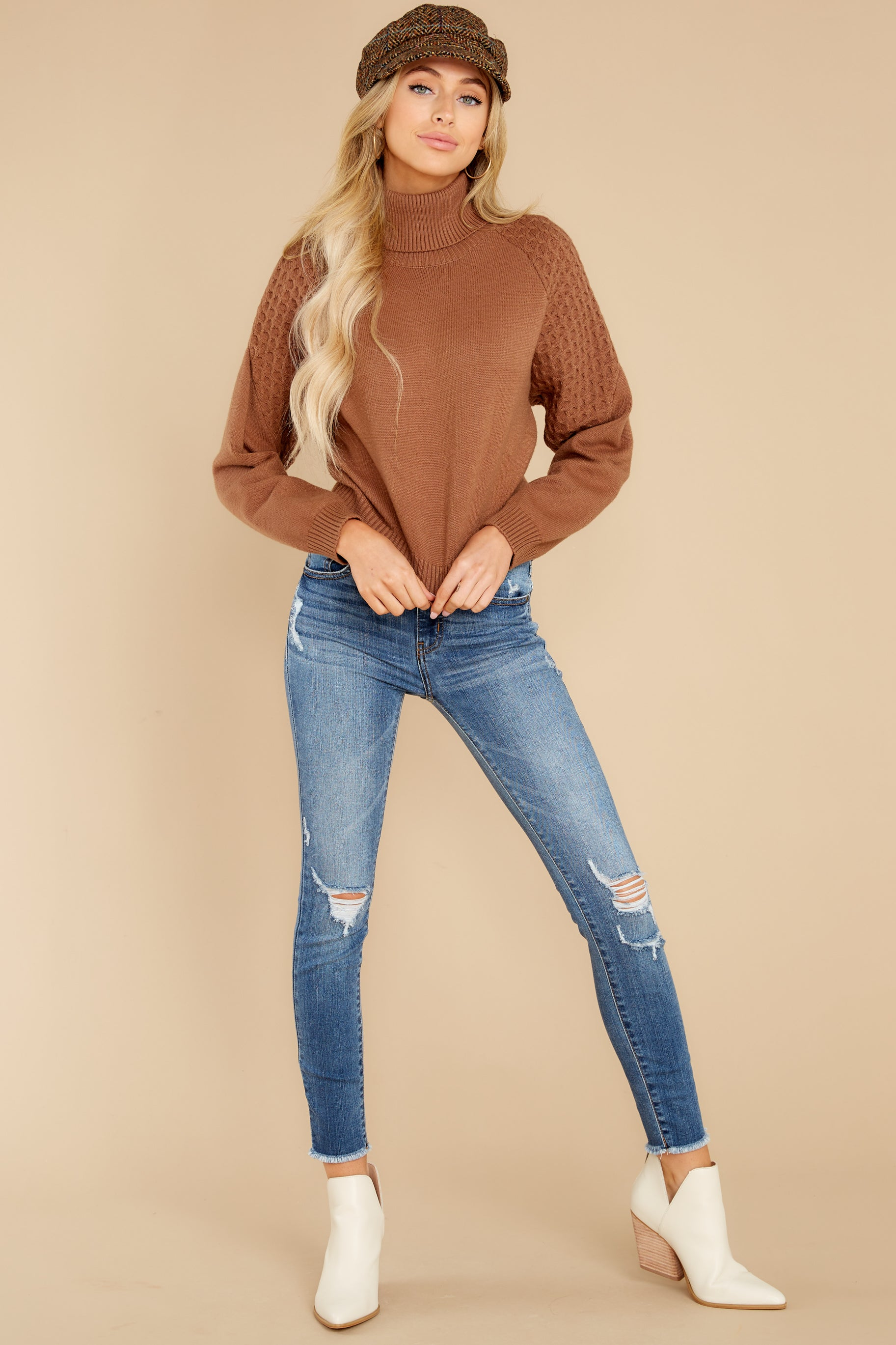 4 Back On Again Camel Sweater at reddress.com