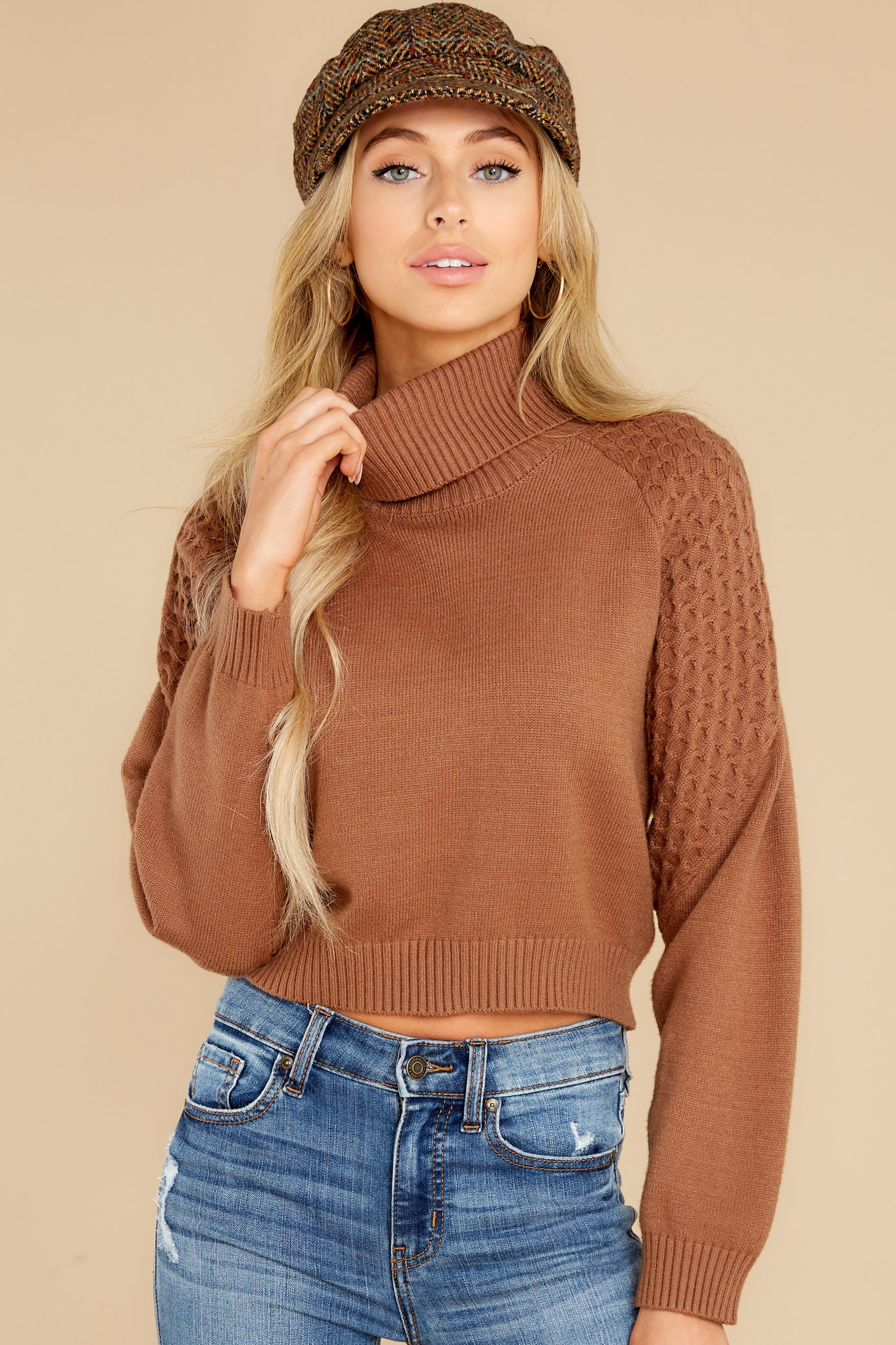 6 Back On Again Camel Sweater at reddress.com