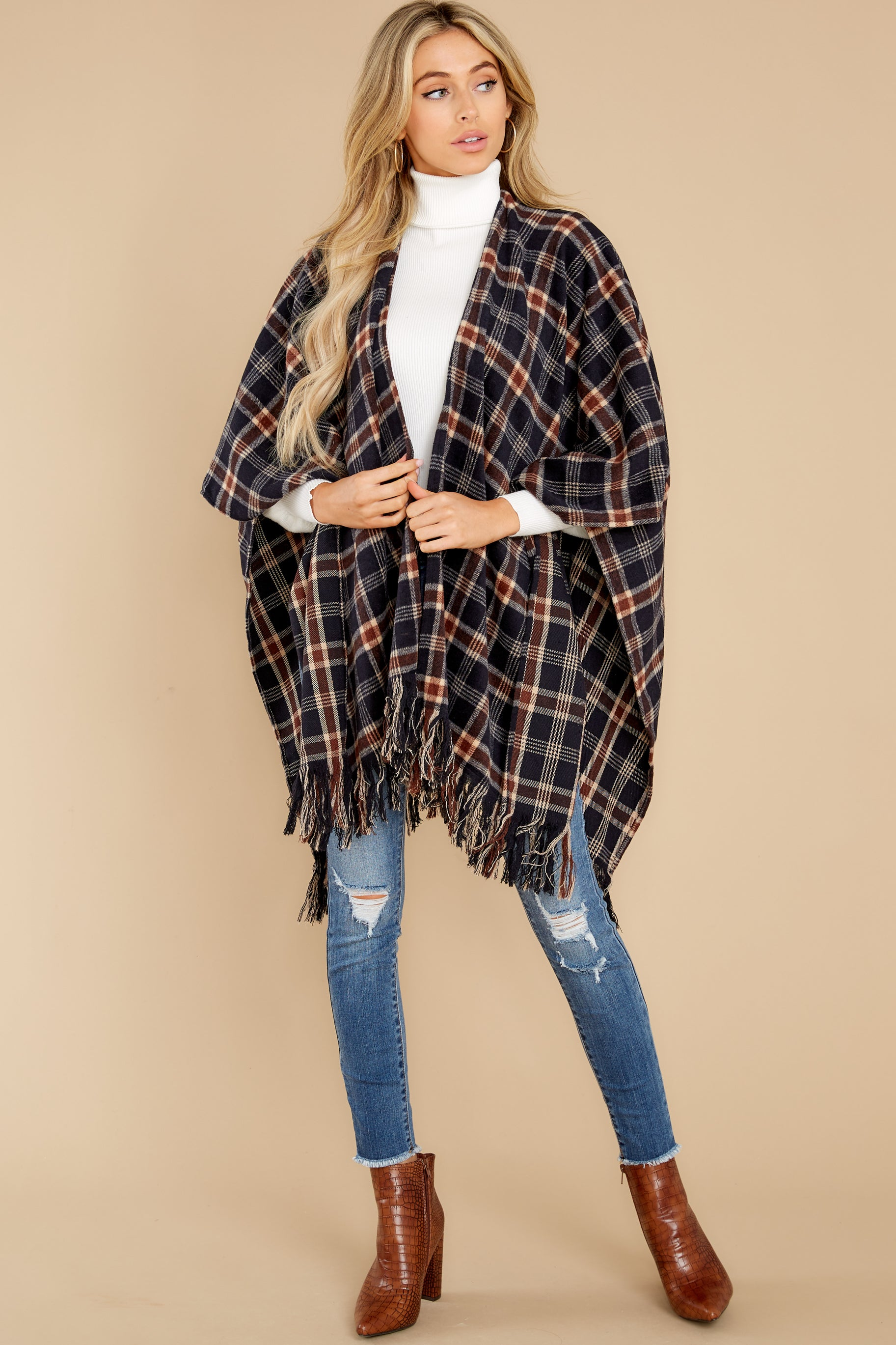 3 Hayride Date Night Navy Multi Plaid Poncho at reddress.com