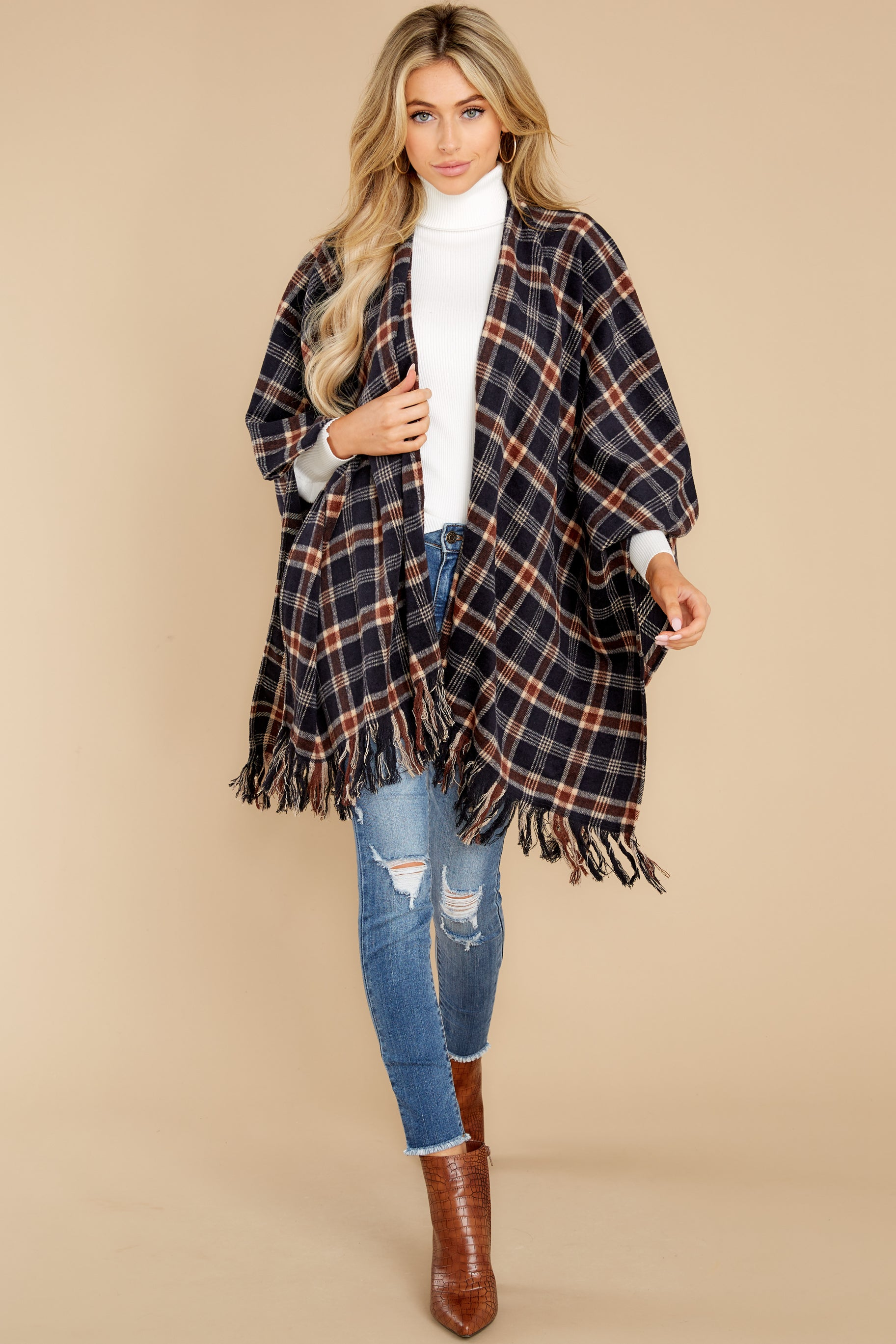 4 Hayride Date Night Navy Multi Plaid Poncho at reddress.com