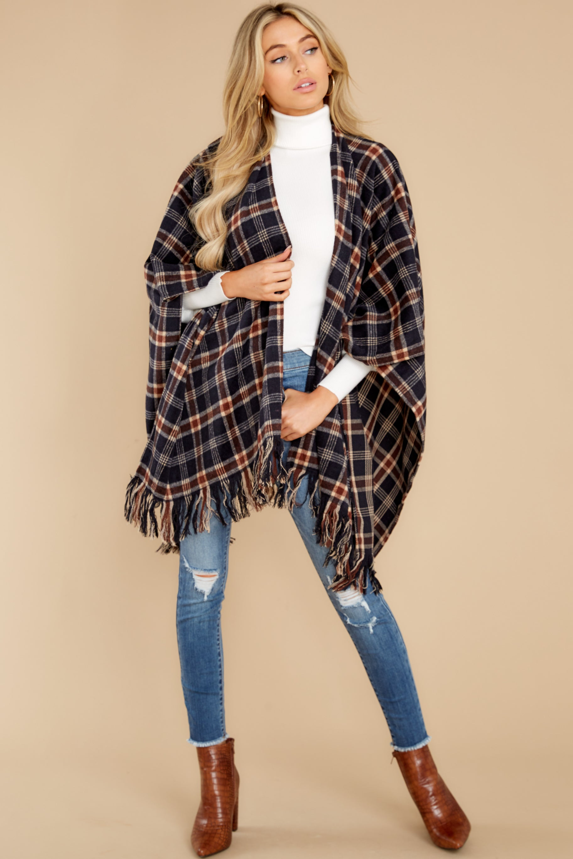 5 Hayride Date Night Navy Multi Plaid Poncho at reddress.com