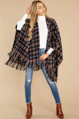 2 Hayride Date Night Navy Multi Plaid Poncho at reddress.com