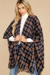 1 Hayride Date Night Navy Multi Plaid Poncho at reddress.com