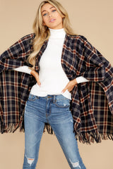 7 Hayride Date Night Navy Multi Plaid Poncho at reddress.com