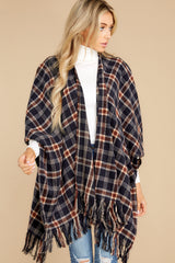 6 Hayride Date Night Navy Multi Plaid Poncho at reddress.com