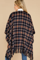 8 Hayride Date Night Navy Multi Plaid Poncho at reddress.com