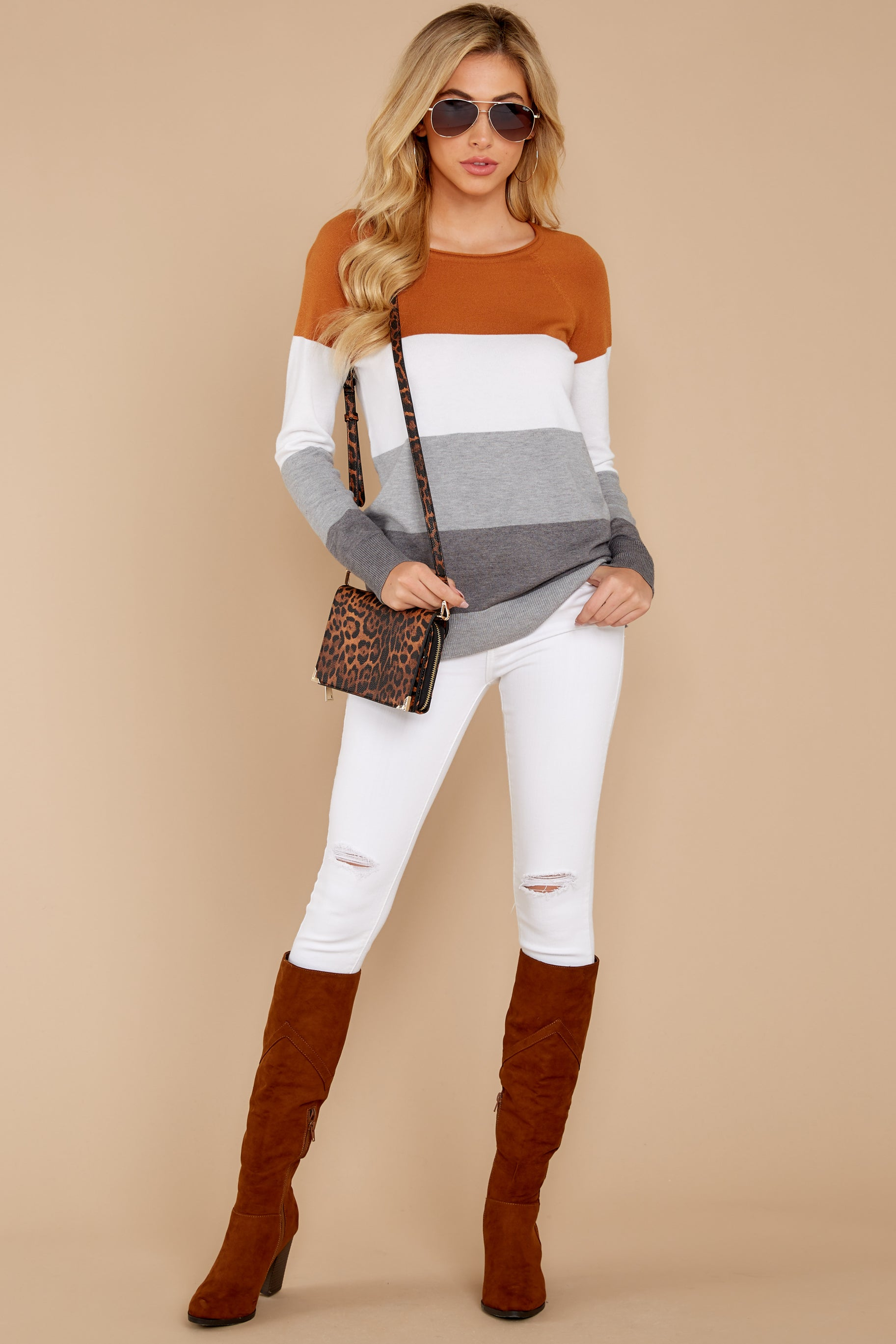 First Choice Golden Orange Multi Stripe Sweater