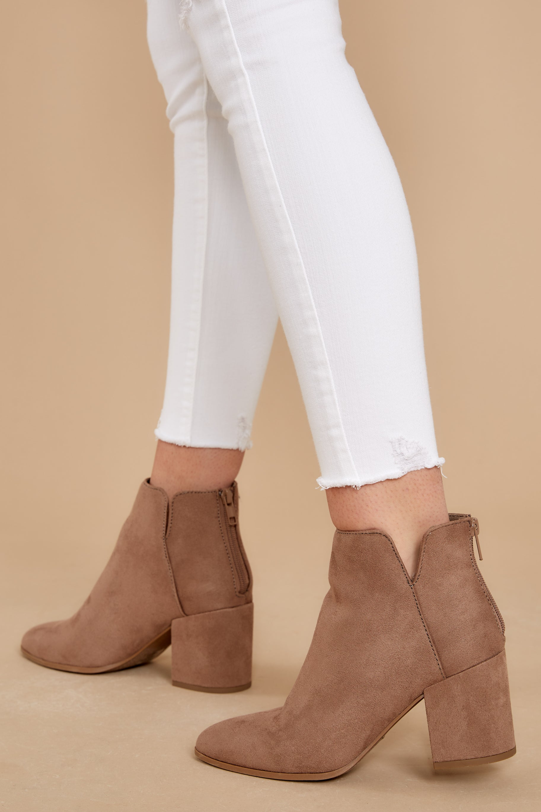 1 Through The City Taupe Ankle Booties at reddressboutique.com