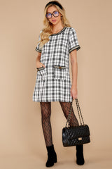 1 It's Up To You Black And White Tweed Dress at reddressboutique.com