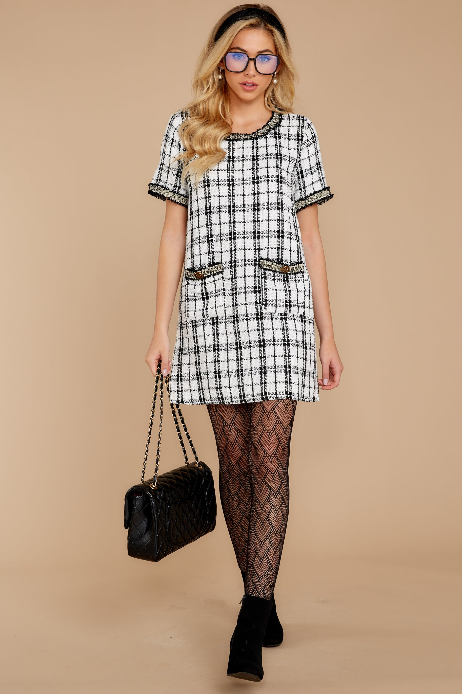 2 It's Up To You Black And White Tweed Dress at reddressboutique.com