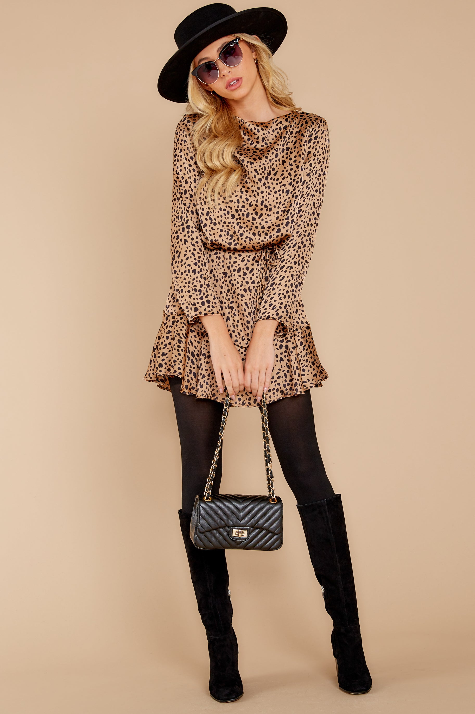 2 Worth The Chase Tan Cheetah Print Dress at reddressboutique.com