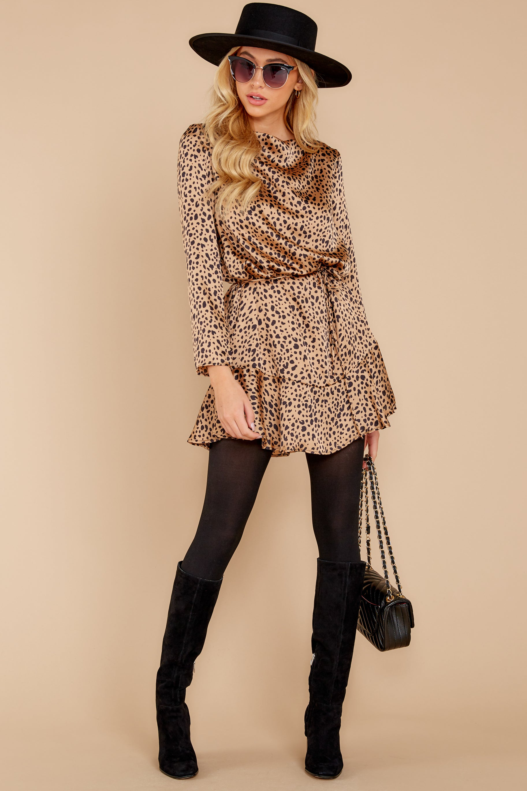 3 Worth The Chase Tan Cheetah Print Dress at reddressboutique.com