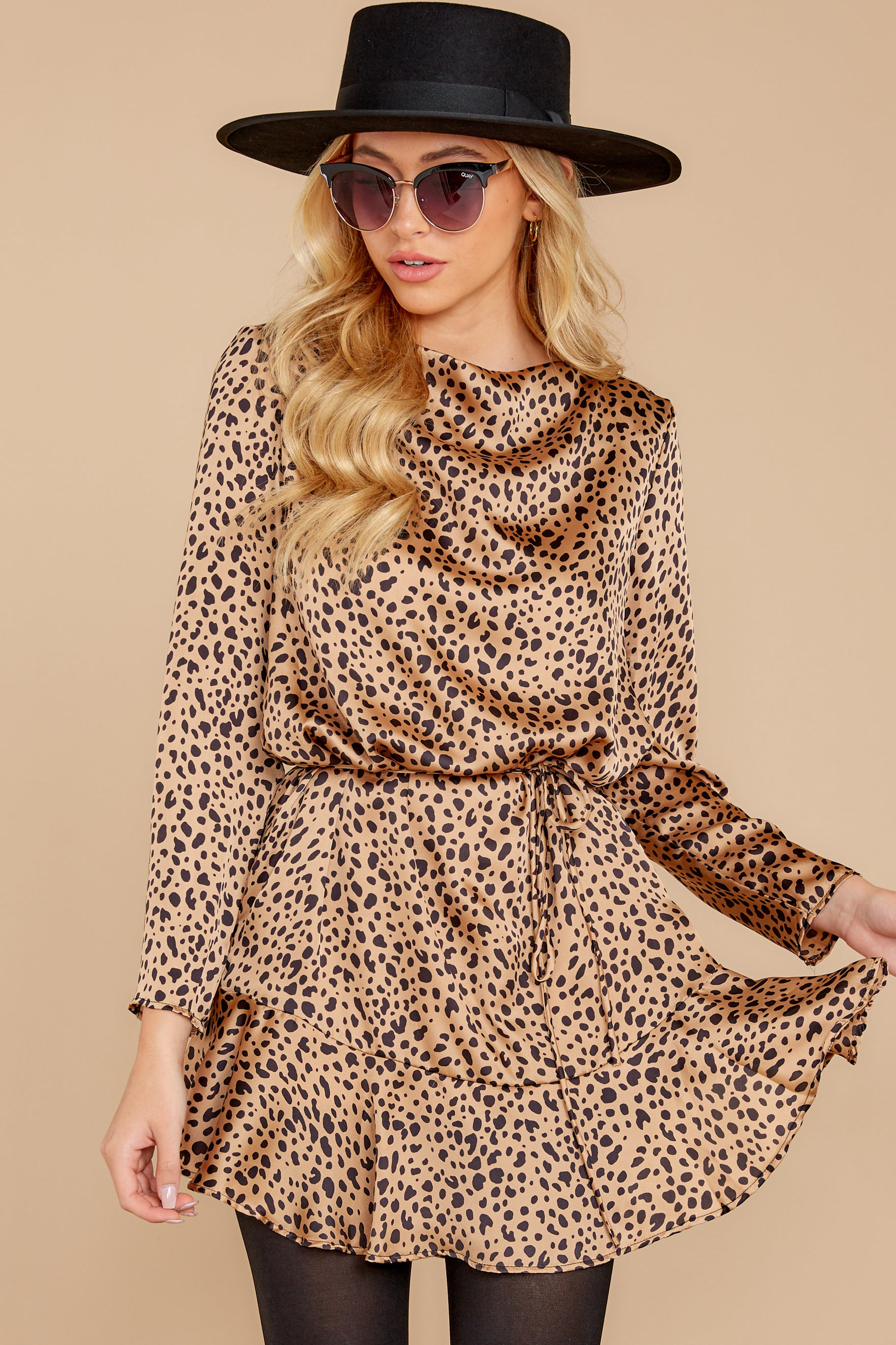 6 Worth The Chase Tan Cheetah Print Dress at reddressboutique.com