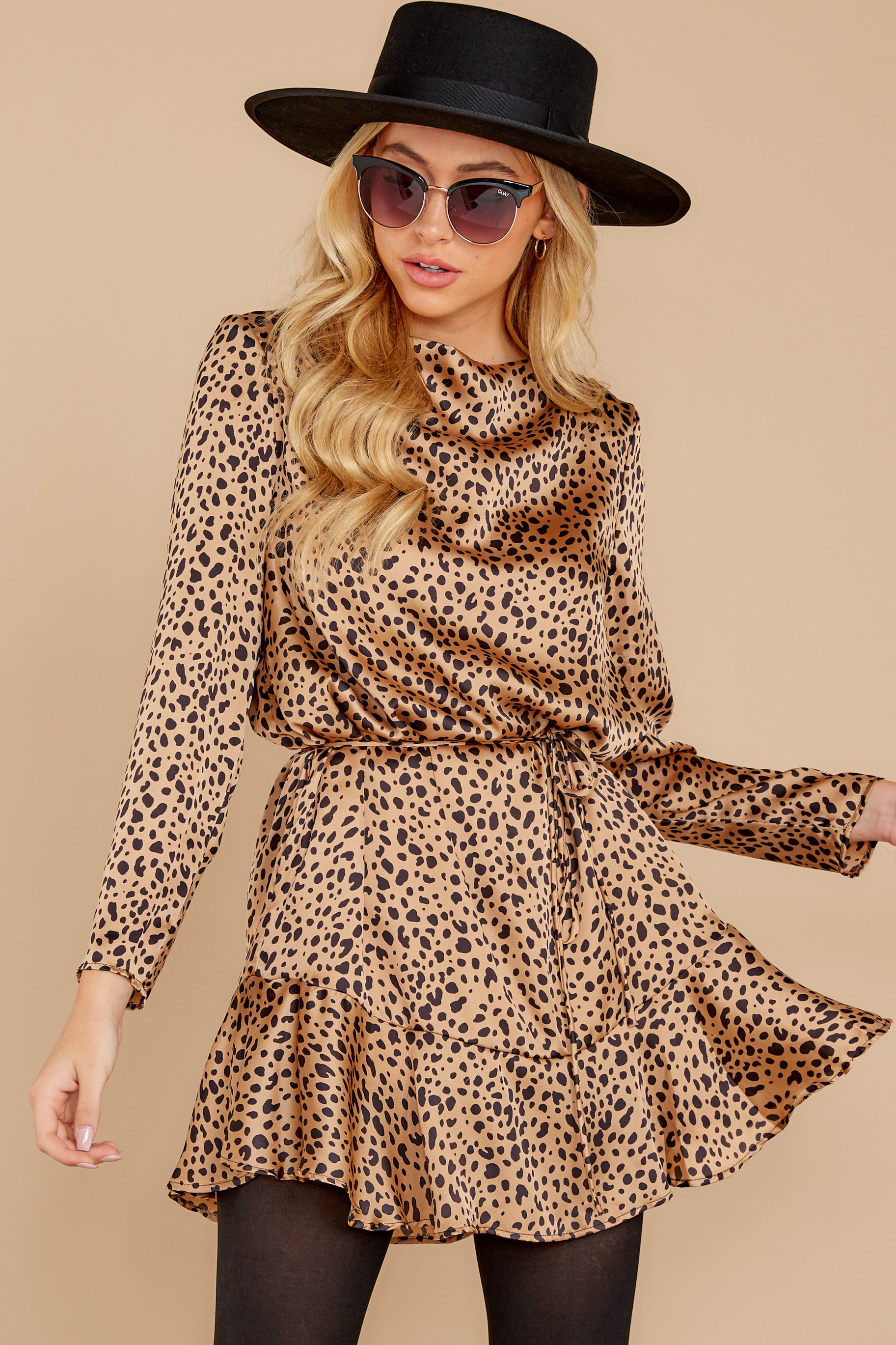 7 Worth The Chase Tan Cheetah Print Dress at reddressboutique.com