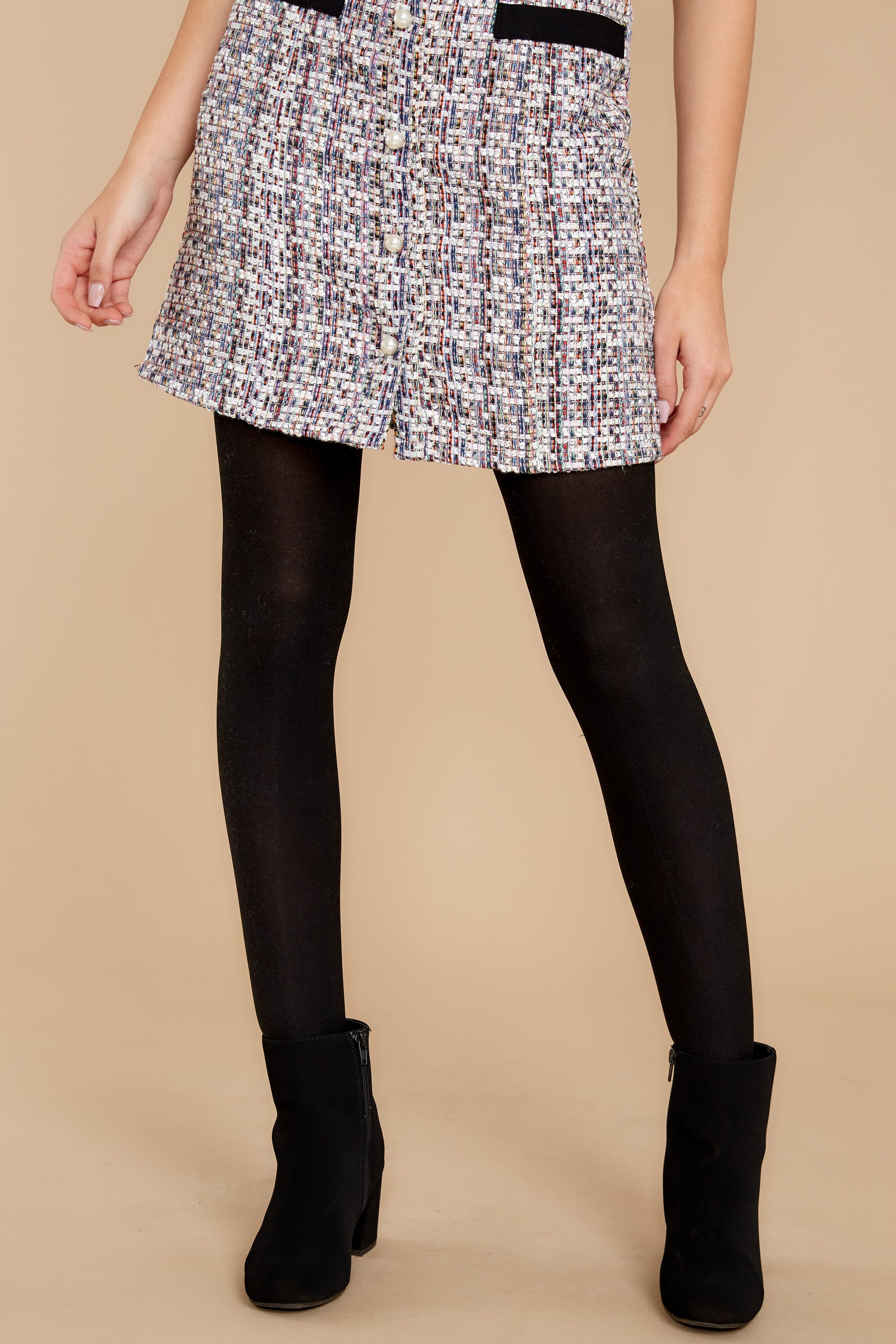 5 Spanx Black And Charcoal Reversible Mid Thigh Shaping Tights at reddressboutique.com
