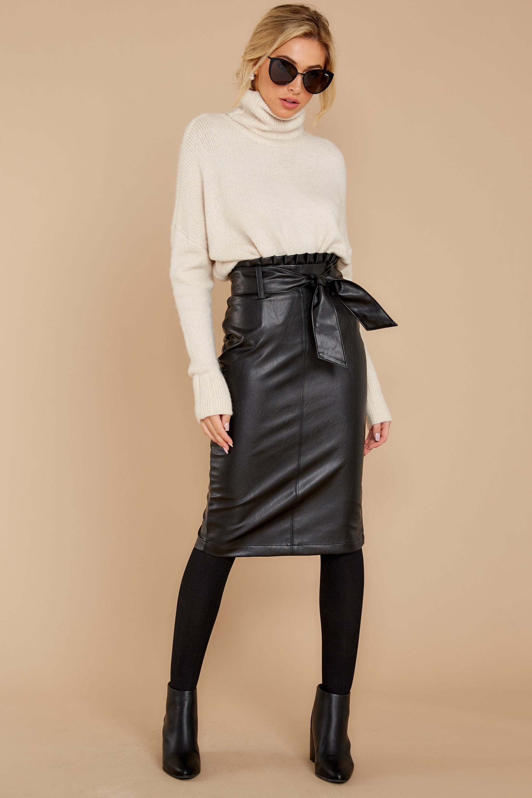 5 Bold Moves Black Vegan Leather Pencil Skirt at reddress.com