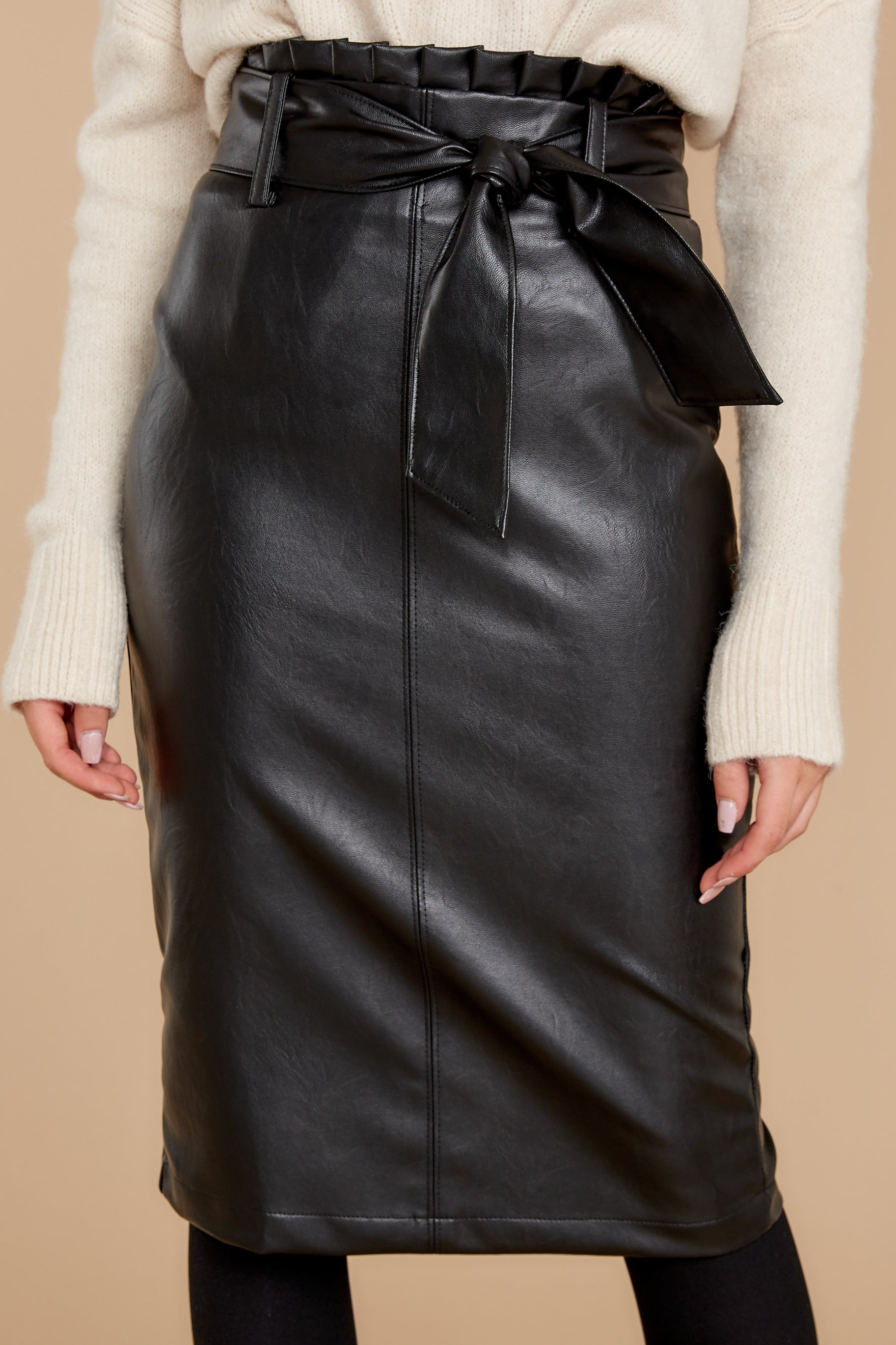 2 Bold Moves Black Vegan Leather Pencil Skirt at reddress.com
