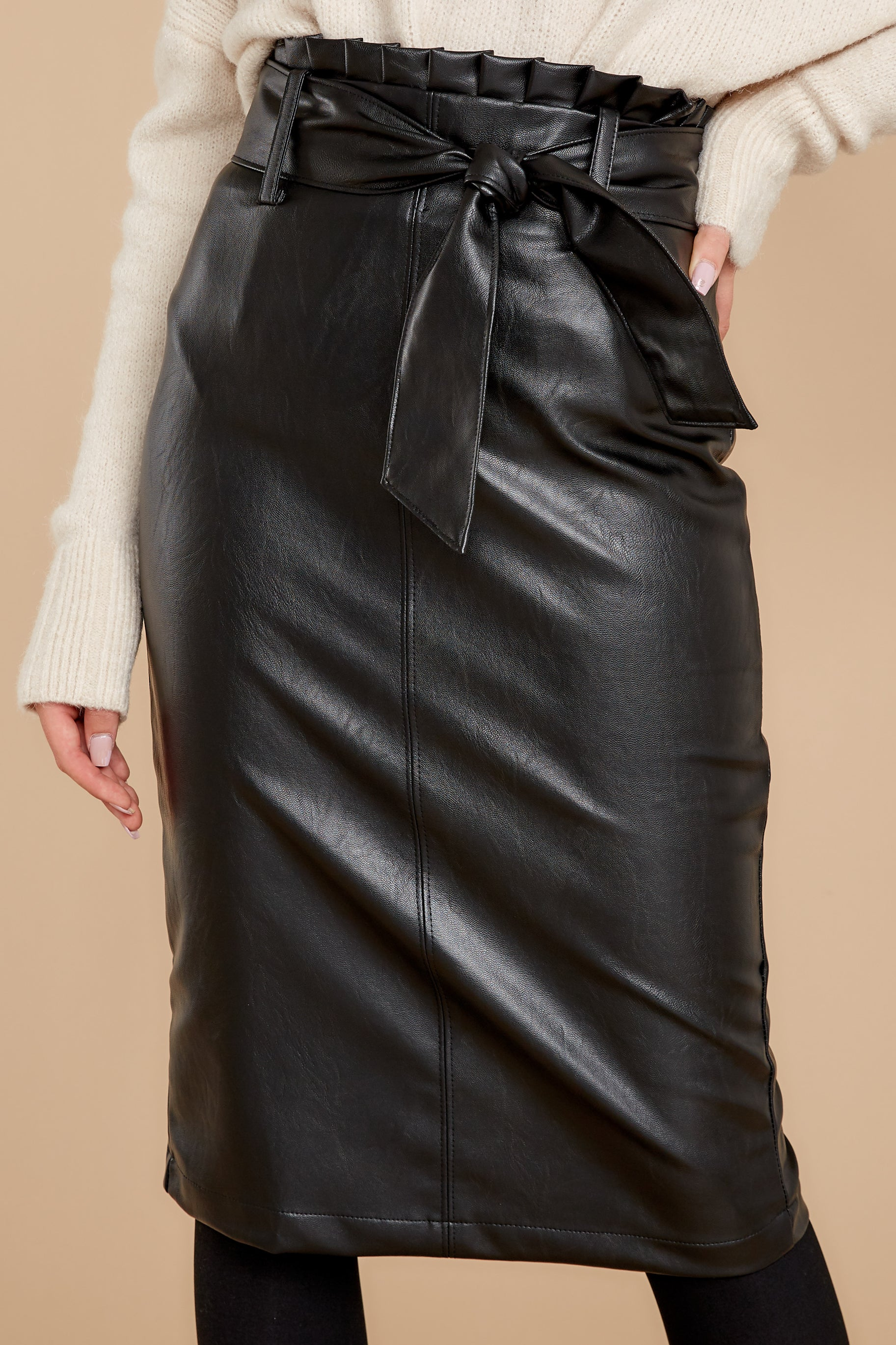 1 Bold Moves Black Vegan Leather Pencil Skirt at reddressboutique.com