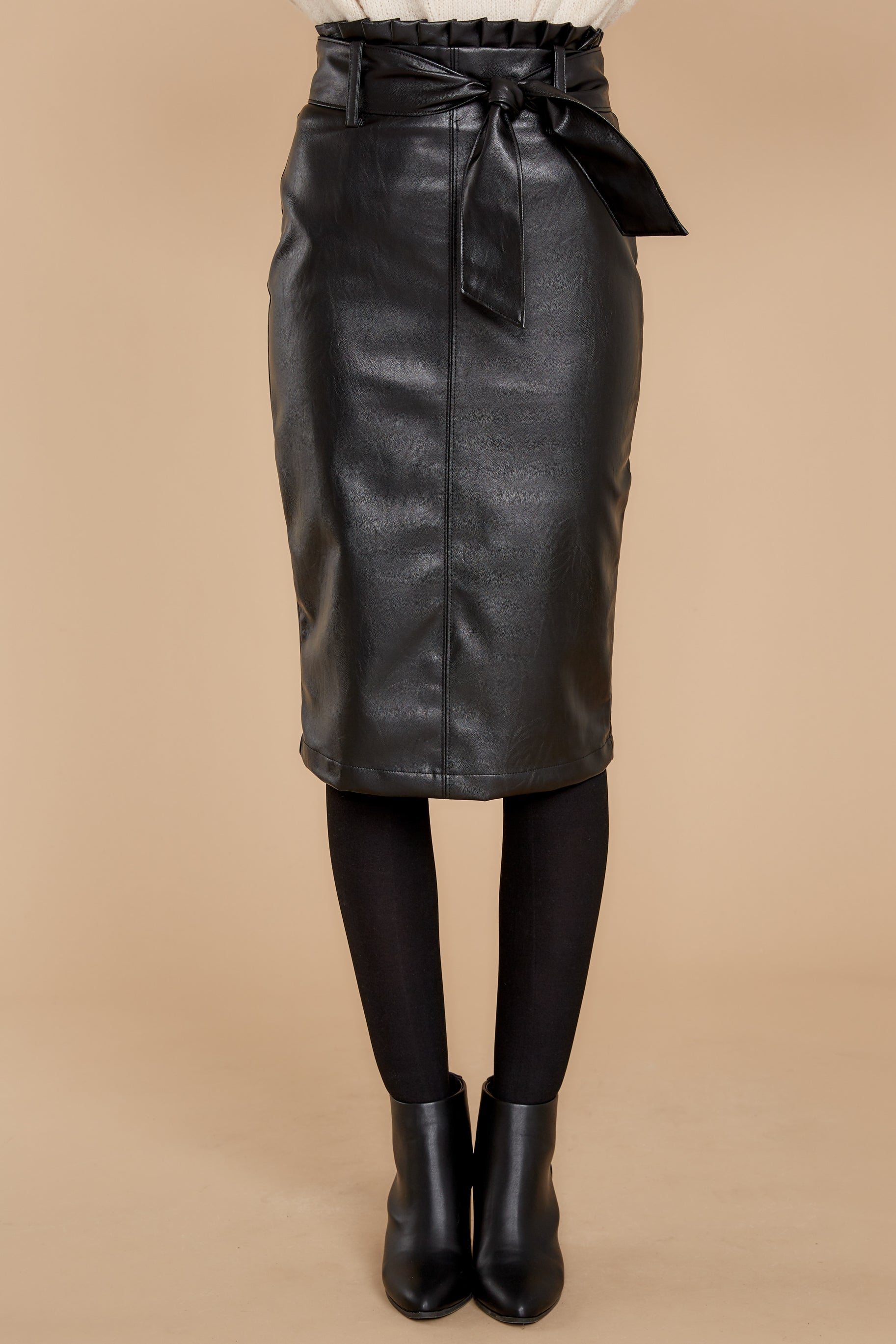 3 Bold Moves Black Vegan Leather Pencil Skirt at reddress.com