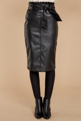 3 Bold Moves Black Vegan Leather Pencil Skirt at reddressboutique.com