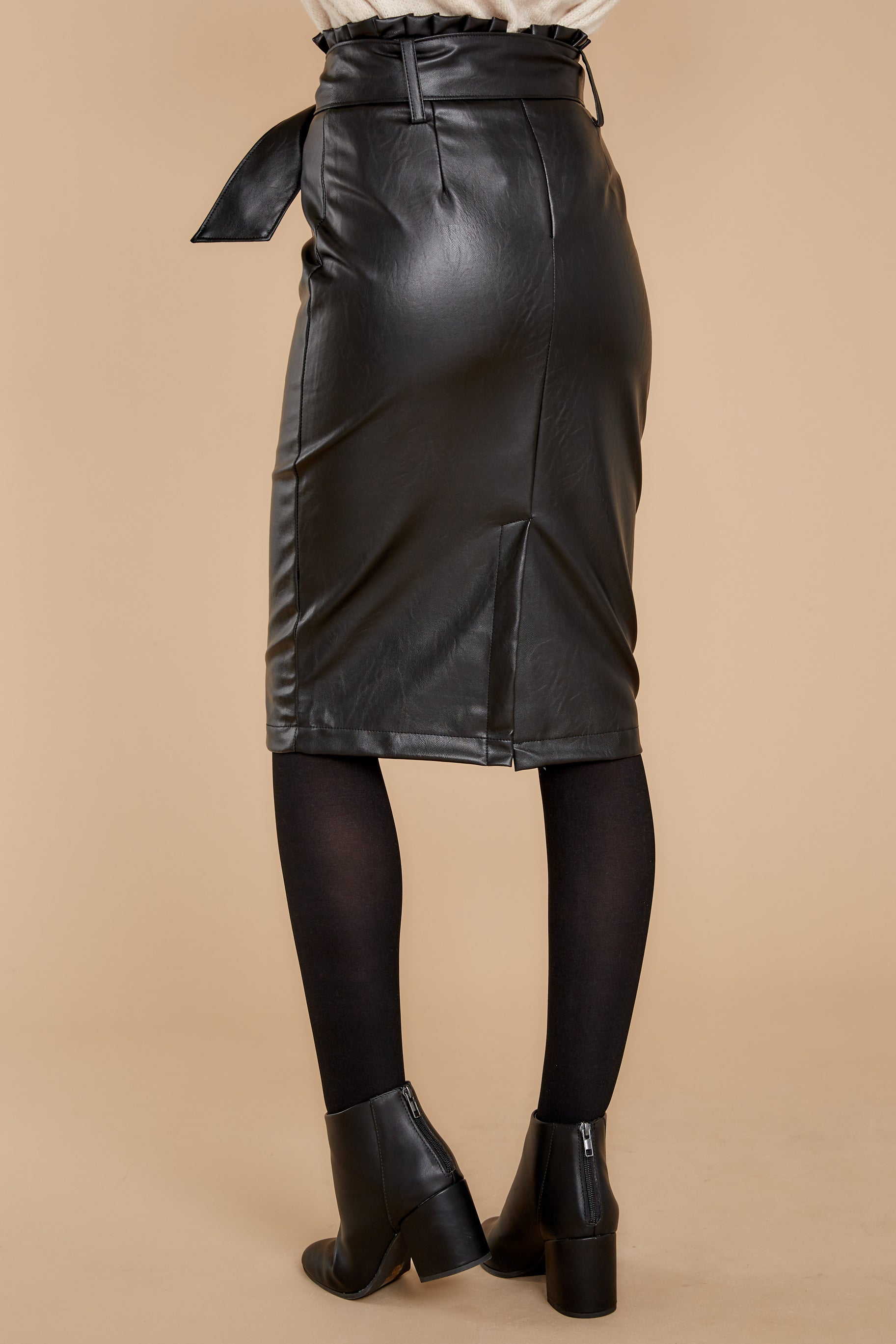 4 Bold Moves Black Vegan Leather Pencil Skirt at reddress.com
