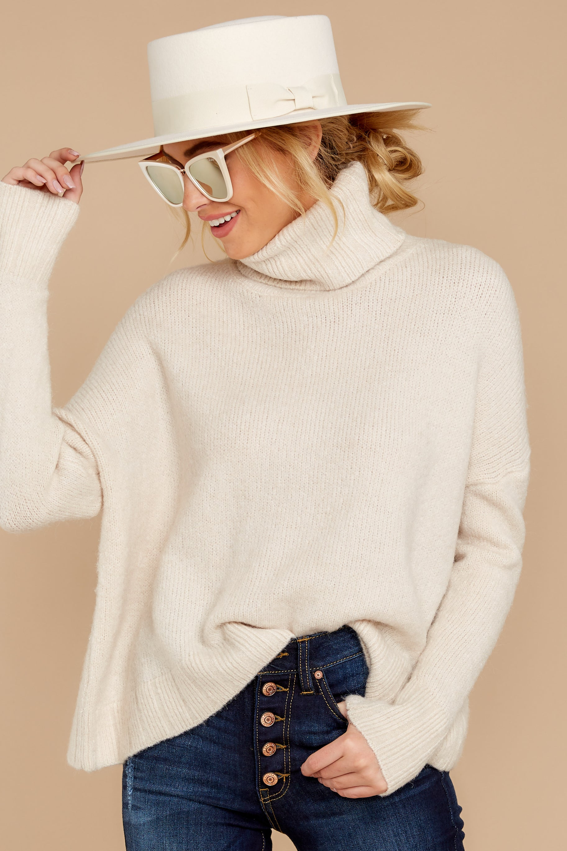 3 Say Anything Cream Turtleneck Sweater at reddressboutique.com