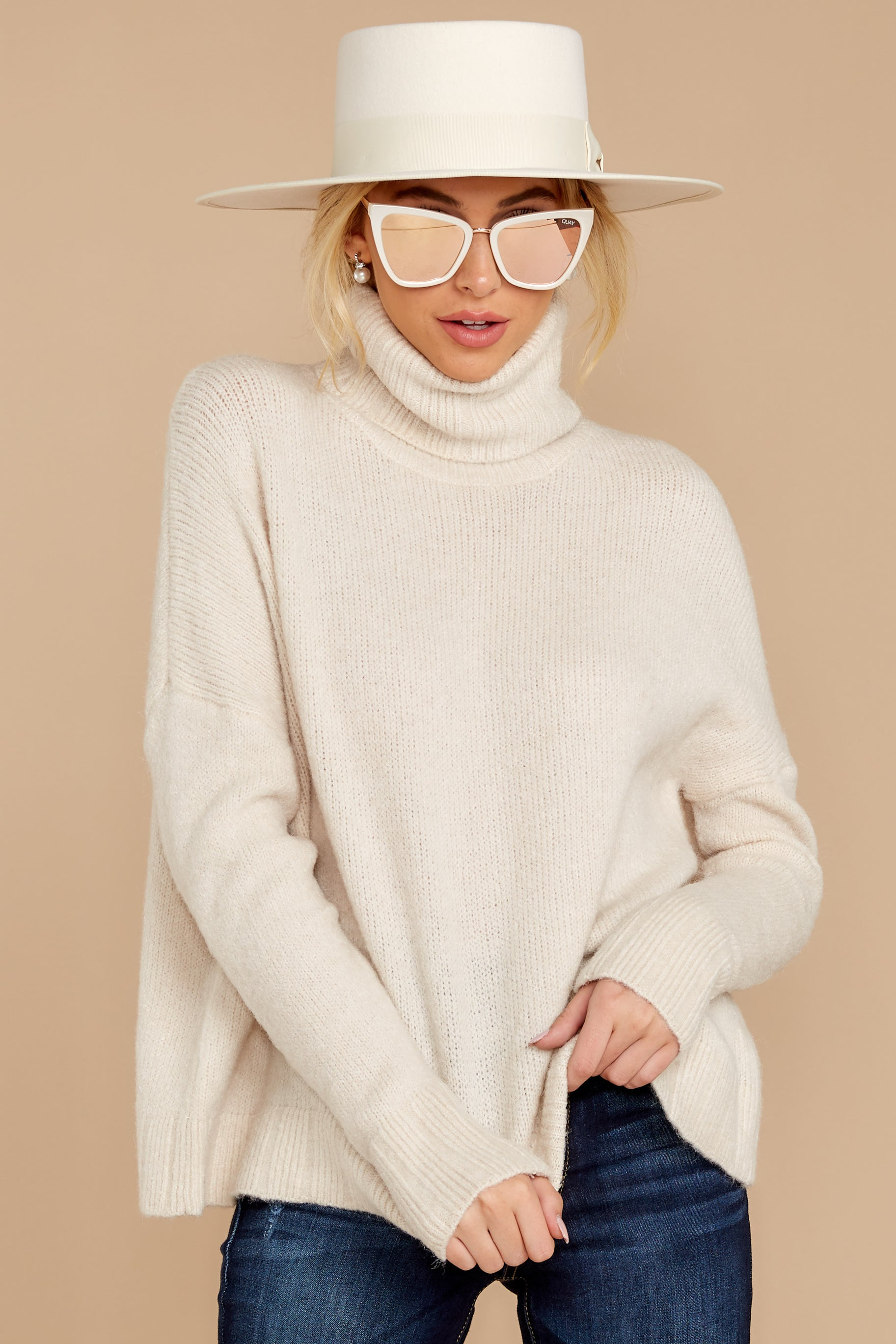 7 Say Anything Cream Turtleneck Sweater at reddress.com