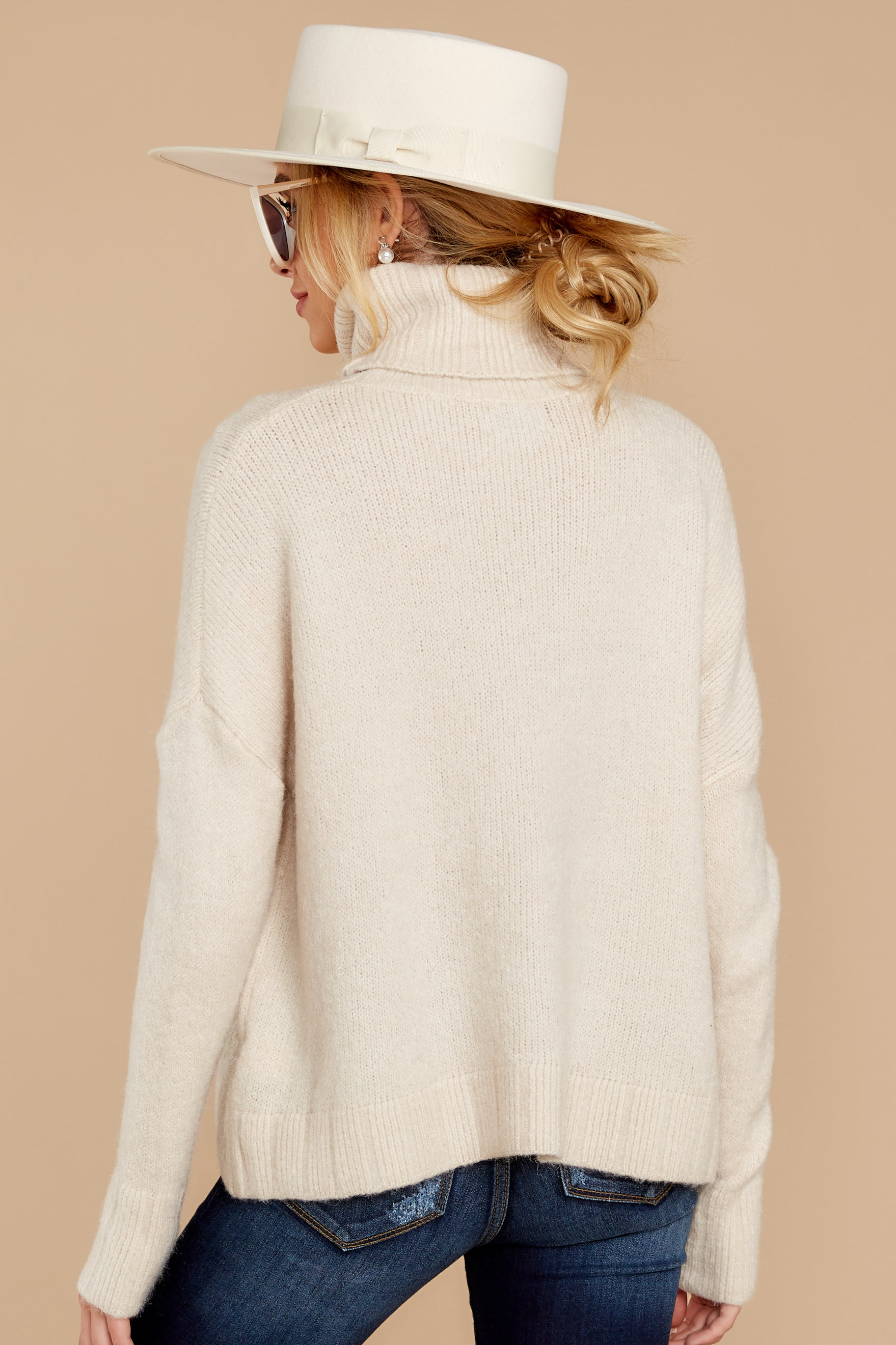 6 Say Anything Cream Turtleneck Sweater at reddressboutique.com