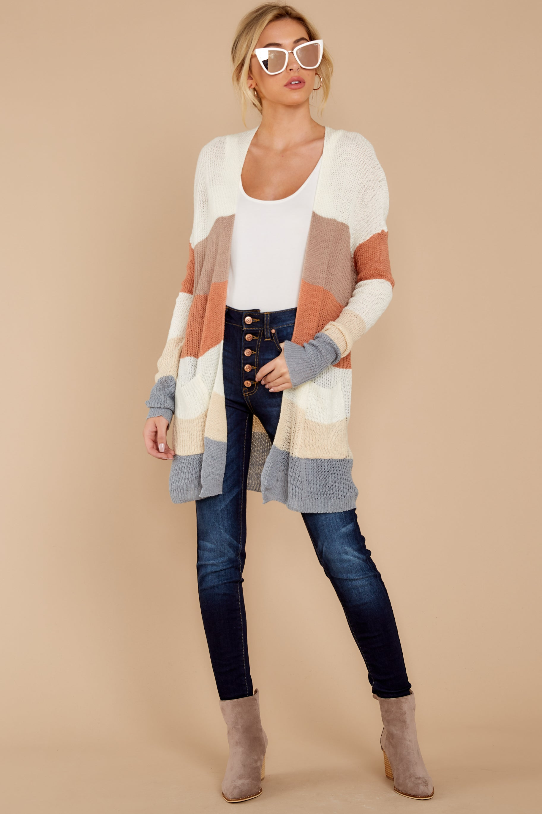2 Tell Me About It Ivory Multi Stripe Cardigan at reddressboutique.com