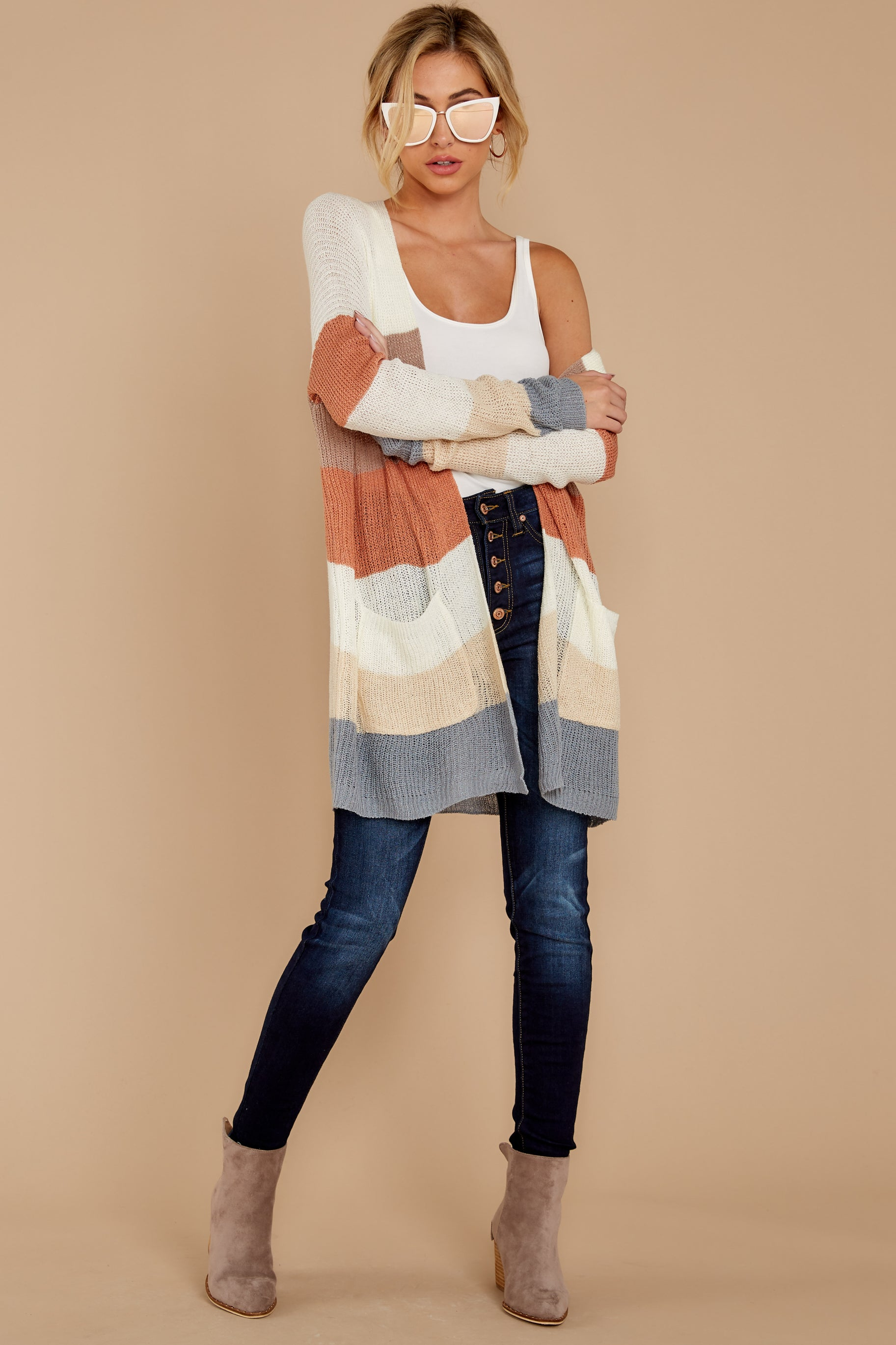4 Tell Me About It Ivory Multi Stripe Cardigan at reddressboutique.com