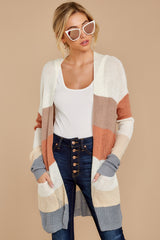 5 Tell Me About It Ivory Multi Stripe Cardigan at reddressboutique.com