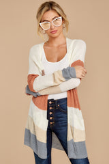 6 Tell Me About It Ivory Multi Stripe Cardigan at reddressboutique.com