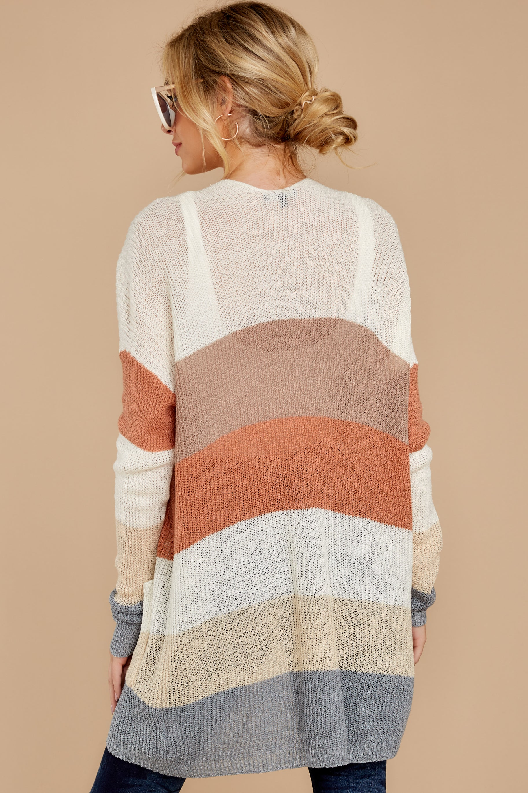 8 Tell Me About It Ivory Multi Stripe Cardigan at reddressboutique.com