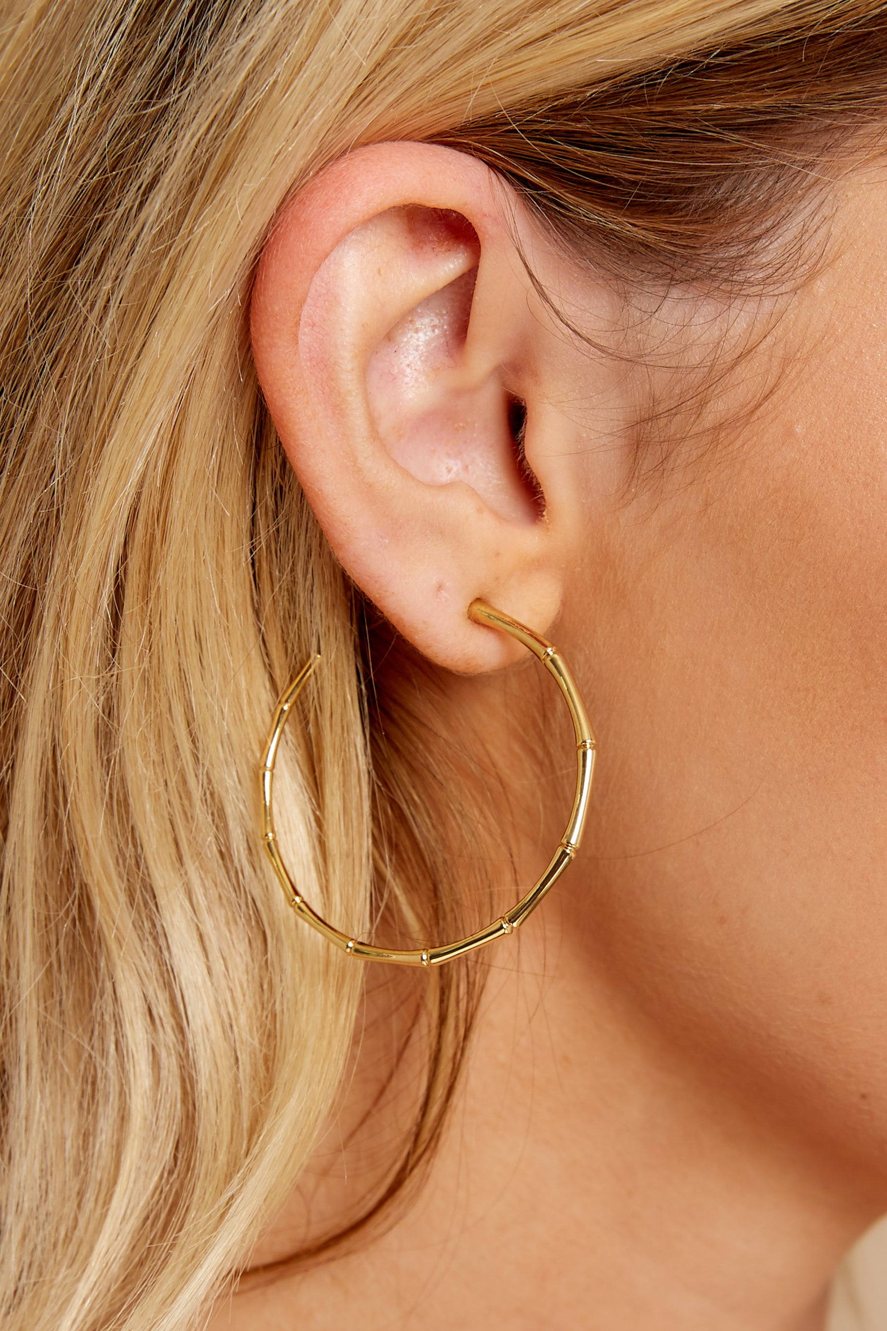 2 Bamboo Gold Hoops at reddress.com